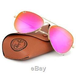 New Ray Ban Aviator RB3025 112/4T 58mm Matt Gold frame/Cyclamen HOT Pink mirr