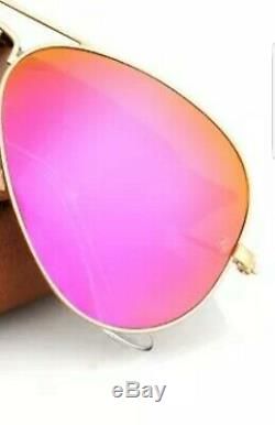 New Ray Ban Aviator RB3025 112/4T Matte Gold frame/Cyclamen Hot Pink mirror