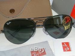 New Ray Ban Aviator Sunglasses Black Frame 62mm Large RB 3026 L2821 G-15 Glass
