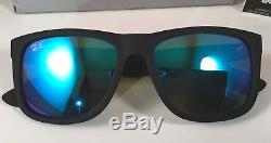 New Ray-Ban Justin RB4165 622/55 54MM Wayfarer Matte Black/Blue Mirror