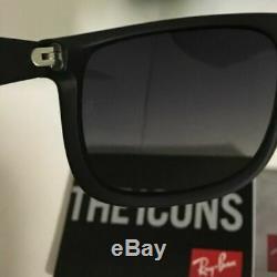 New Ray Ban Justin Wayfarer Polarized RB4165 622/T3 Matte Black Grey Size 54mm