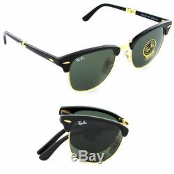 New Ray Ban RB2176 901 Folding Clubmaster Black withGreen G-15 51mm-21