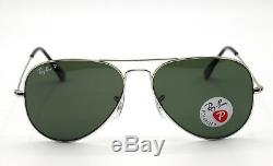 New Ray-Ban RB3025 003/58 Silver/Green Classic G-15 Polarized Aviator Sunglasses