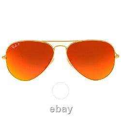 New Ray-Ban RB3025 Aviator Flash Lens Gold Frame/Orange Flash Sunglasses 58mm