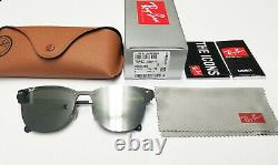 New Ray Ban Ray-ban Blaze Clubmaster Sunglasses Rb3576n Silver Mirror