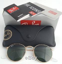 89aa82f7a2 New Ray-Ban Round Metal Gold RB 3447 001 50mm Sunglasses with Green Lens