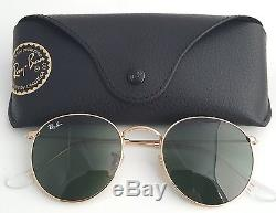 New Ray-Ban Round Metal Gold RB 3447 001 50mm Sunglasses with Green Lens