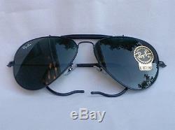 New Ray Ban Sunglasses AVIATOR OUTDOORSMAN Black RB 3030 L9500 G-15 Glass Lens