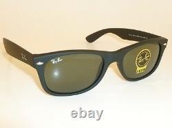 New Ray Ban Sunglasses Matte Black Rubber WAYFARER RB 2132 622 Green Lenses 58mm