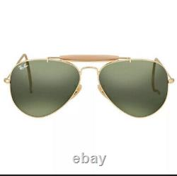 New RayBan Aviator Outdoorsman RB3030 L0216 Classic Gold Frames WithG-15 Lens 58MM