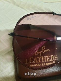 New Vintage B&L Ray Ban Outdoorsman Leather Changeable Rose Aviator Sunglasses