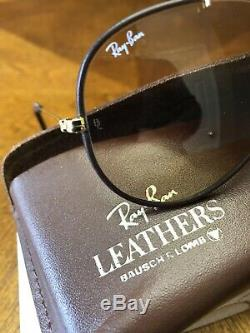 New Vintage B&L Ray Ban Outdoorsman Leathers Gold Brown Changeable 58mm