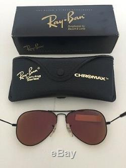New Vintage B&L Ray Ban W1662 Driving Metal Aviator Matte Black Chromax Sunglass