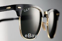 POLARISED RayBan ALUMINIUM CLUBMASTER 49 Black Gold Sunglasses RB 3507 136/N5