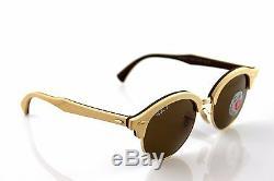 POLARIZED Genuine RAY-BAN CLUB ROUND WOOD Classic B15 Sunglasses RB 4246M 117957