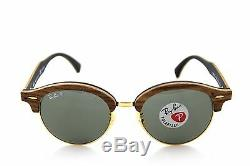 POLARIZED Genuine RAY-BAN CLUBROUND WOOD Classic G-15 Sunglasses RB 4246M 118158