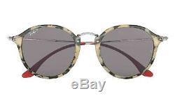 POLARIZED NEW Genuine RAY-BAN ROUND FLECK Beige Havana Sunglasses RB2447 1247P2