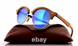 RARE Genuine RAY-BAN CLUBROUND WOOD Blue Flash Lens Sunglasses RB 4246M 1180/7Q