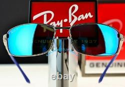RAY BAN 3498 Gunmetal Silver Frame POLARIZED BLUE MIRROR lenses RB3498 029/9R