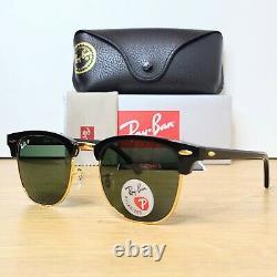 RAY-BAN CLUBMASTER 3016 901/58 51mm BLACK/GREEN POLARIZED Sunglasses