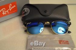 7239af1683e RAY BAN CLUBMASTER RB3016 51 21 Sunglasses Black Frame   Blue FLASH Lens -Medium