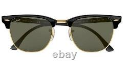 RAY BAN CLUBMASTER RB3016 Sunglasses size 51/21 Lens POLARIZED CLASSIC GREEN
