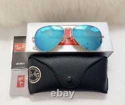 RAY BAN FLASH MIRROR AVIATOR BLUE WOMEN UNISEX 58mm sunglasses NEW USA
