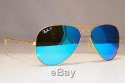 RAY-BAN Mens Polarized Mirror Sunglasses Blue Gold Aviator RB 3025 112/4L 24066
