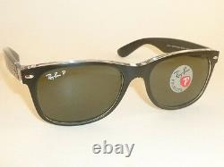 RAY BAN New WAYFARER Black On Transparent RB 2132 6052/58 Polarized Green 52mm