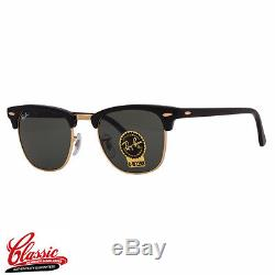 RAY-BAN ORIGINAL CLUBMASTER SUNGLASSES RB3016 W0365 Black Frame 49MM
