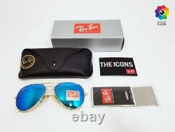RAY BAN RAY-BAN RB3026 AVIATOR SUNGLASSES ICE BLUE LENSES GOLD FRAME 62mm