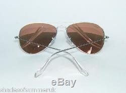 RAY BAN RB 3025 019/Z2 MATTE SILVER PINK FLASH MIRROR AVIATOR SUNGLASSES 55 mm