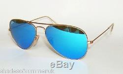 RAY BAN RB 3025 112/17 MATTE GOLD BLUE MIRROR AVIATOR SUNGLASSES 58 mm MEDIUM