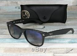 RAY BAN RB2132 601S78 New Wayfarer M Black Blue Polarized 55 mm Men's Sunglasses