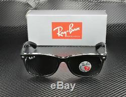 RAY BAN RB2132 605258 New Wayfarer Black Trans Green Polarized 55 mm Sunglasses