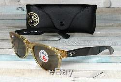 RAY BAN RB2132 945 57 New Wayfarer Honey Brown Polarized 55 mm Mens Sunglasses