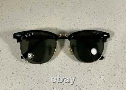 RAY BAN RB3016 CLUBMASTER Classic POLARIZED 51/21 Sunglasses Black Frame NEW