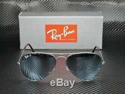 RAY BAN RB3025 019 W3 Aviator Matte Silver Mirror Polarized 58mm Mens Sunglasses
