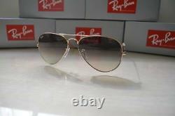 RAY BAN RB3025 58/14 AVIATOR Sunglasses GRAY GRADIENT Lens, GOLD Frame