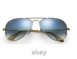 RAY BAN RB3025 Sunglasses AVIATOR 58/14 LIGHT BLUE GRADIENT Lens, GOLD Frame