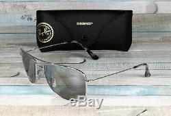 RAY BAN RB3543 003 5J Shiny Silver Grey Mirror Polarized 59 mm Unisex Sunglasses