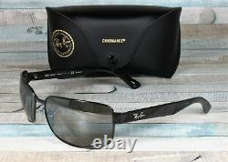 RAY BAN RB3566Ch 002 5J Shiny Black Grey Mirror Polarized 65 mm Men's Sunglasses