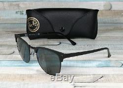 RAY BAN RB3716 186 R5 Clubmaster Metal Black Matte Blue 51 mm Unisex Sunglasses