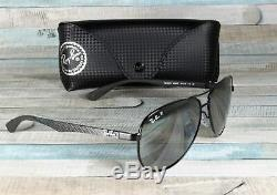 RAY BAN RB8313 002 K7 Carbon Fibre Shiny Black Grey Polarized 58 mm Sunglasses