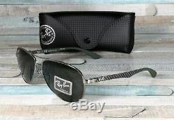 RAY BAN RB8313 004 N5 Carbon Fibr Gunmetal Green Polarized 61mm Men's Sunglasses