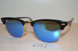RAY BAN Sunglasses CLUBMASTER RB3016 51/21 BLACK Frame / BLUE FLASH Lens