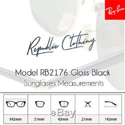 RAY BAN Sunglasses Folding Clubmaster Black Frame RB 2176 901 G-15 51 With Case