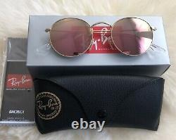 RAY BAN Sunglasses RB3447 ROUND METAL 50-21, Mirror Classic Lens, GOLD Frame