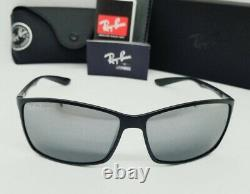 RAY BAN black/silver mirror POLARIZED LITEFORCE RB4179 601S8 62 sunglasses NEW