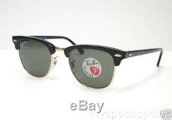 Ray Ban 3016 901/58 Clubmaster Black New 100% Authentic Polarized Sunglasses